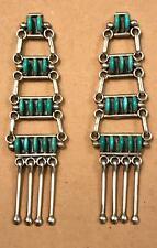 Zuni Petit Point Turquoise & Sterling Silver Chandelier Ladder Earrings Seowtewa