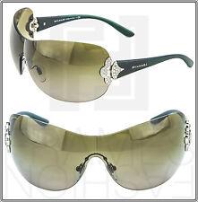 BVLGARI Shield Green Silver Diva Gradient Visor Sunglasses BV6069 BV 6069 Women