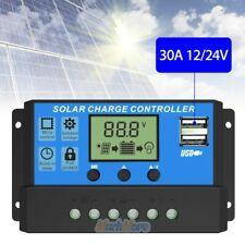 PWM 30A Dual USB Solar Panel Battery Regulator Charge Controller 12V 24V