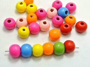 Craft DIY Mixed Bright Candy Colour Wood Round Beads Wooden Spacer Various Size