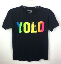 YOLO Women's Small T-Shirt Black Neon Spell Out Short Sleeve Cotton Trendy