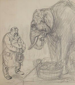 Theodor Grätz 1859 - 1947 - Elephant With Trainer Circus?