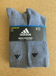 Adidas Cushioned Crew Socks Grey and Black  6-Pack Athletic extended size 12-15