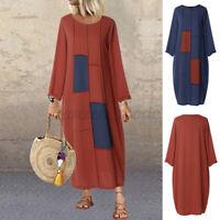 Mode Femme Manche Longue Col Robe Quotidien Couture Dresse Plage Midi Long Plus