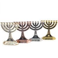 "4pcs Set Jewish 7 Branched Candle Holder w/ Ornament Blessed Jerusalem Gift 2.4"""