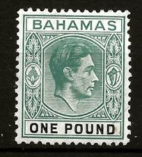 BAHAMAS  (309) 1938-£1.00 CHALKY SG157 DEEP/GREY/GRN/BLACK MM /MH SEE 2 SCANS