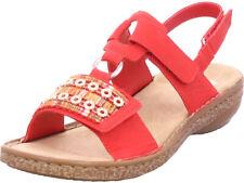 Rieker Damen  Sandale Sandalette Sommerschuhe rot