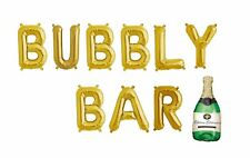 """BUBBLY BAR Letter Balloons - Champagne Balloon - 16"""" Gold Letters - US SHIP"""
