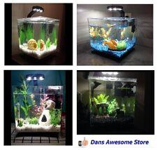 Cube Aquarium 3 gallon Fish Tank Starter Kit LED Light Water Filter Goldfish