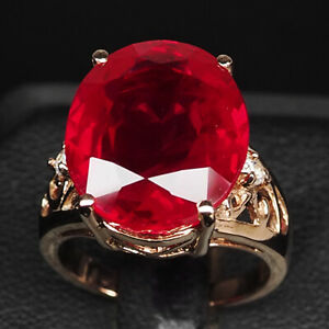 RUBY BLOOD RED OVAL 17.40 CT. 925 STERLING SILVER ROSE GOLD RING SZ 5.75 JEWELRY