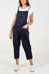 New Ladies women Leopard Print Jersey Dungaree Jumpsuits One Size (8-14) BNWT