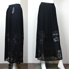 M&S AUTOGRAPH Silky PLEATED Lace Panel LONG SKIRT ~ Size 16 ~ BLACK