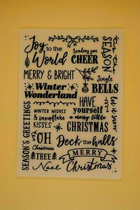 Christmas Sentiments Embossing Folder Jingle Bells Cheer Card Making UK STOCK 4Z