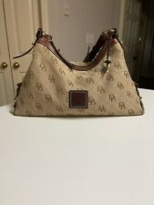 Dooney & Bourke Signature Hobo Purse Bag Tab Brown Leather Jacquard