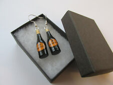 Handmade Miniature Ladies Fun Bubbly Fizz Bottle of Prosecco Earrings - Gift Box