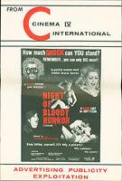 Night of Bloody Horror (1969) Gerald McRaney, Gaye Yellen Horror film Pressbook