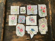 10 vintage antique Swiss rose embroidery samples handkerchief dolls c. 1920-40s