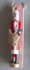 """Unique Modern Wood Tall Thin Santa Claus Nutcracker NIB 9 1/2"""" Tall"""