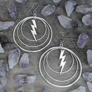 Gothic Lightning Bolt Earrings - Handmade Vintage Tibetan Silver Earrings