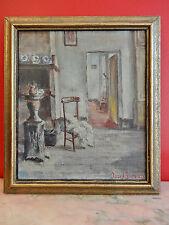 INTERIEUR HUILE  SIGNE JOZEF GOETHALS  36 x 41 cm