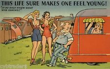 Vintage Travel Trailer Art Comic Feeling Young  Refrigerator / Tool  Box  Magnet