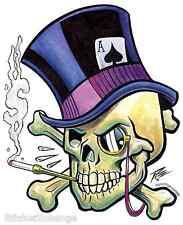 Mini Size Top Hat Skull Sticker Decal Artist Pizz P51B