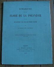 DRAKE DEL CASTILLO flore de la Polynésie TAHITI BOTANIQUE rare ouvrage 1890