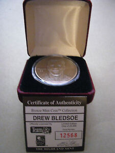 HIGHLAND MINT LIMITED EDITION BRONZE COIN OF DREW BLEDSOE #12568 OF 25000