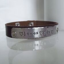 """Lovely Handmade Personalised """"name Date Quote"""" Leather Statement Cuff Bracelet"""