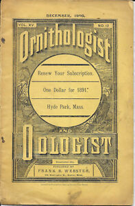 The Ornithologist and Oologist December 1890 Magazine