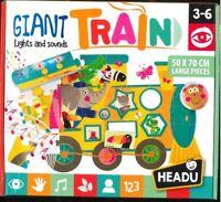 GIANT TRAIN lights and sound, HEADU, PUZZLE LARGE PIECES 50X70cm. (3-6 ANNI)