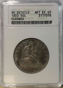 1853 50C Arrows and Rays Liberty Seated Half Dollar ANACS AU DETAILS