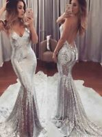 Womens Ladies Sexy Sequin Mermaid Long Formal Evening Party Ball Prom Gown Dress