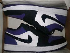 Air Jordan 1 Low White/Black-Court Purple 553558-125 Men's Size 8