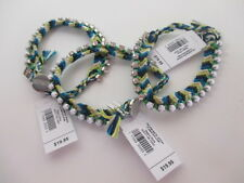 Gap Blue Green Braided Crystal White bead Toggle Bracelet NWT $19.95 Each set 6