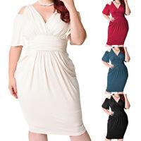 Plus Size Women Bodycon V Neck Cold Shoulder Evening Party Club High Waist Dress
