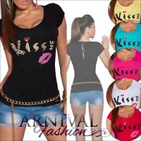 SEXY WOMENS CASUAL T SHIRT TOPS S M L SHORT SLEEVE BLOUSE LADIES TOP AU 8 10 12