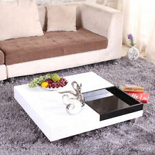Modern Square High Gloss White Coffee Table Chrome Legs Black Box Living Room