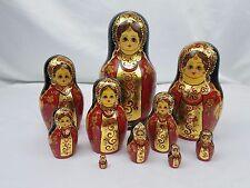 Russian Empress Princess Alexandria Matryoshka Nesting Dolls Signed 10 Piece