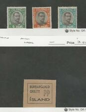 Iceland, Postage Stamp, #O41-42, O44 + Label Mint Hinged, 1920