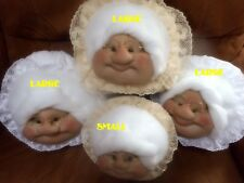 Handcrafted Soft Sculptured Grandma Face  Doll Head - Small  READ DESCRIPTION