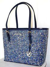MICHAEL KORS Handtasche Neu Carry Tote navy Jet Set Travel Flower Bag Shopper