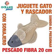 JUGUETE RASCADOR GATO PEZ DE TELA Y FIBRA SONIDO AL PRESIONAR 20 cm L140 3155
