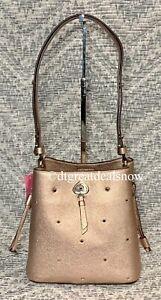 NEW Kate Spade Marti Small Bucket Bag Shoulder Bag Spade Stud Golden Pea