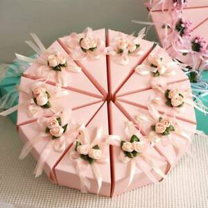 10Pcs Triangle Cake Candy Box Paper Flower Wedding Party Favors Sweet Gift Boxes