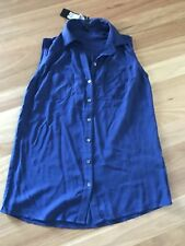 Ladies Cute Blue Viscose Tunic Sleeveless Top By Crossroads- Size S 12/14 NWT