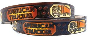 AMERICAN TRUCKER MOTORCYCLE COWHIDE EMBOSSED LEATHER BELT SIZE 26-48 MADE IN USA