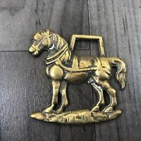 AUTHENTIC VINTAGE BRASS HANGING SHIRE HORSE SHOES HORSESHOE