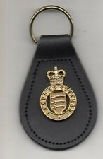ESSEX YEOMANRY BRITISH ARMY CAP BADGE KEY RING REAL ENGLISH LEATHER