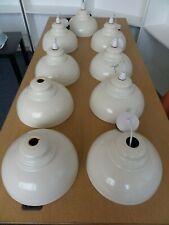 Cream Enamel Round Pendant Lightshades - Job Lot x9